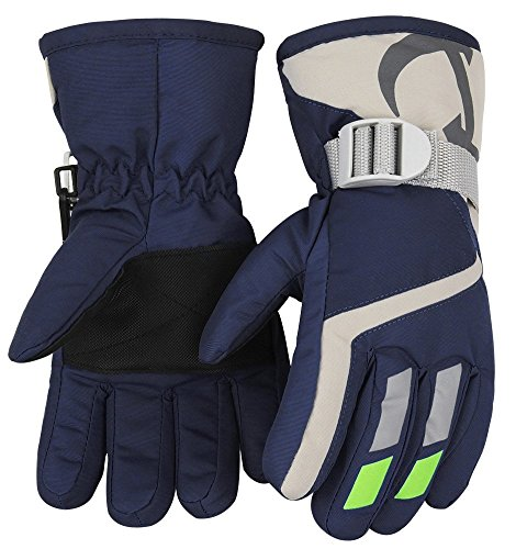 Kids Winter Warm Water-Resistant Gloves for Skiing/ Snowboarding/ Cycling/Riding Outdoor Activities Children Mittens Best for 4 to 6 Years Old Navy