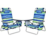 Giantex Camping Chair 2-Pack Beach Sling Chair, Patio Reclining Chairs with 5 Adjustable Position, Head Pillow, Storage Bag, Towel Bar, Cup Holders, Ice Pack Folding Lawn Chairs (2, Blue+Green)