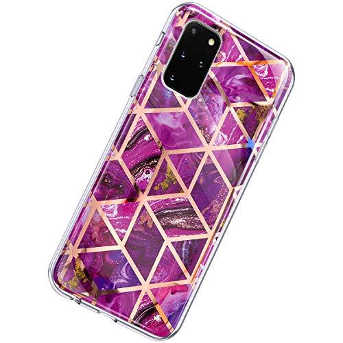 Herbests Kompatibel mit Samsung Galaxy S20 Plus Hülle Marmor Muster Glänzend Glitzer Bling Weich Silikon Hülle Kratzfest Schutzhülle Tasche Crystal Case Durchsichtig Dünn Handyhülle,Marmor Lila