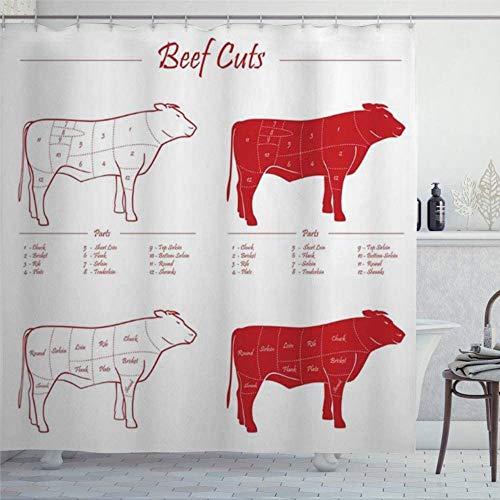 Cortina de ducha con corte de flanco, carne de vaca, color rojo sobre lomo, color blanco, diseño de lomo de ternera, con anillos de tela de poliéster, cortinas de ducha con ganchos, decoración de baño