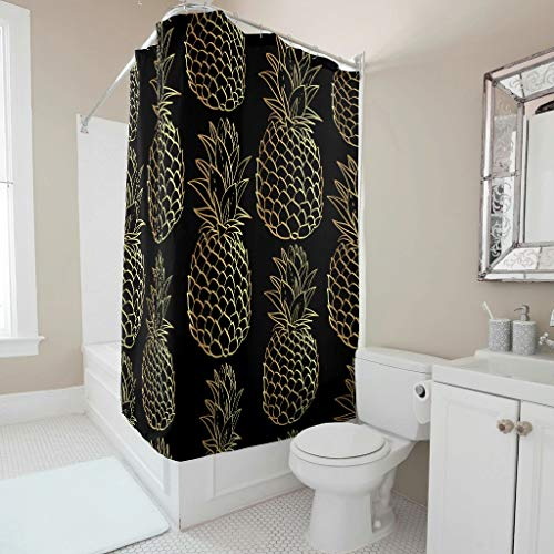 WJunglezhuang polyesterweefsel Pineapple Fruit douchegordijn anti-schimmel badkamer gordijnen