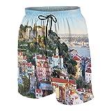 Bañador de Playa para Hombre,Castillo de San Jorge en Lisboa, Hotel Portugal, bañador de Verano con Bolsillo TAMAÑO XL