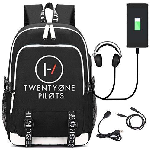 Xdsy Twenty One Pilots Bandolera USB de Carga Bandolera Bolsa de computadora Hombres y Mujeres Bolsa de Viaje
