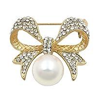 工場直販クリスタルラインストーンズボウブローチピンシミュレートされた真珠を持つ女性のための