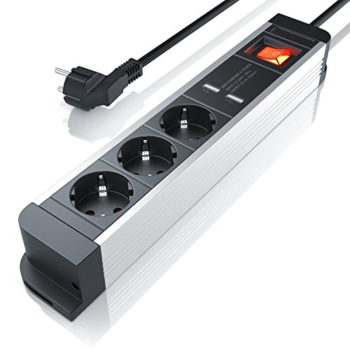 CSL-Computer Steckdosenleiste 3 Fach mit 2 USB Ladeports Mehrfachsteckdose für Wandmontage Aluminium Steckerleiste mit Berührungsschutz und Schalter Mehrfachstecker für Steckdose