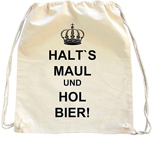 Mister Merchandise Trekkoord Tas Rugzak Halt ́s Maul und HOL Bier Winkelen