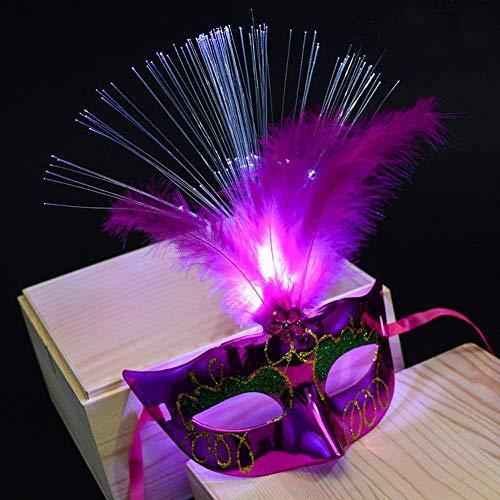 PORU Spritumn Luminous Feather Halloween Halbe Gesichtsmaske Frauen Venezianische LED Faser Maske Damen Leuchten Prinzessin Federmasken Für Maskerade Kostümfest,B