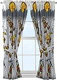 Kids Warehouse 63' Decorative Curtain/Drapes 4-Piece Set (2 Panels, 2 Tiebacks) TMNT Cross Hatching