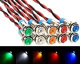 Gebildet 10pcs 6mm 12-24V LED Luz Indicador Piloto De Metal Lámpara para Coche,Barco,Motocicleta