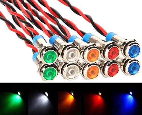 Gebildet 10Pcs 6mm 220V LED Metall Anzeigelampe wasserdichte Signallampe (Grün Gelb Rot Blau Weiß 10Pcs)