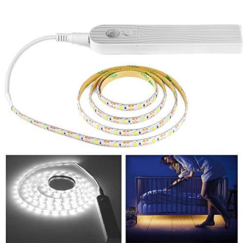 WARMTOWER - Tira de Luces LED con Sensor de Movimiento (Funciona con Pilas, AAA, multifunción, Flexible), Cold Light 3m, Body Sensor and Powered by Battery