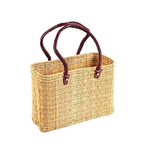 Einkaufskorb aus Seegras I geflochtene Tasche mit Ledergriff I mittlere Größe mit langem Griff I Natur