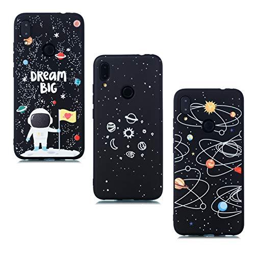 ChoosEU Compatibile con 3X Cover Samsung Galaxy A40 2019 Silicone Disegni Fiore Nero Belle Morbido Antiurto Gomma Custodia Slim Bumper Case Chiaro Protezione Ultra Sottile - Spazio, Astronauta