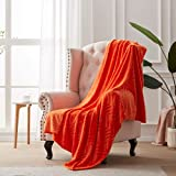 Softhug Throw Blanket Super Soft Fleece Blanket Luxury Microfiber Cozy Breathable Flannel Blankets for Couch,Bed, Car, Living Room Orange 50'' x 60''