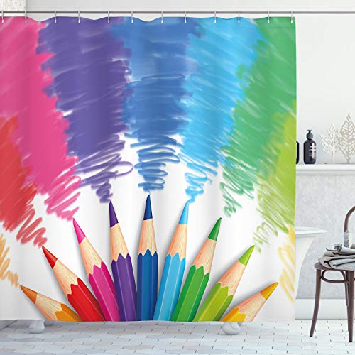 Ambesonne Colorful Shower Curtain, Colorful Crayons and Pencils Student Design Theme Sketch Style, Cloth Fabric Bathroom Decor Set with Hooks, 70' Long, Pink