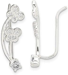 Srebro wysokiej próby 925 cyrkonia sześcienna Cz motyl ucho wspinacz kolczyki piękna biżuteria dla kobiet prezenty dla niej