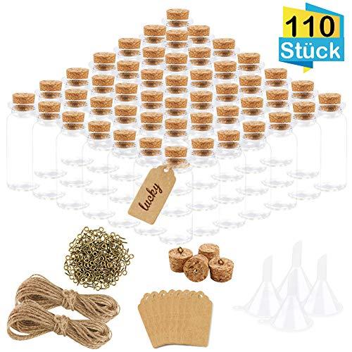 FHzytg 110 Stück Mini Glasflaschen mit Korken, 10ml Klein Glasfläschchen mit 200 Augenschrauben, 4 Trichter, 200 Kraftpapier Anhänger und 20M Hanfseil für DIY Aufbewahrung von Gewürzen, Sand