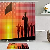 GugeABC Juego de Cortinas y tapetes de Ducha de Tela,Soldados y Oficiales saludaron la Bandera,Cortinas de baño repelentes al Agua con 12 Ganchos, alfombras Antideslizantes