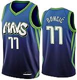 YCJL Camiseta De Baloncesto NBA para Hombre Mavericks 77# Camiseta Sin Mangas De Baloncesto Doncic, Camiseta Retro Clásica, Ropa Deportiva Transpirable De Malla,Azul,S