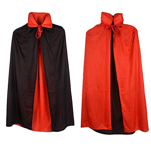 Custome Black Red Reversible Dress Goth Devil Pirate Vampire Demon 35' Cloak