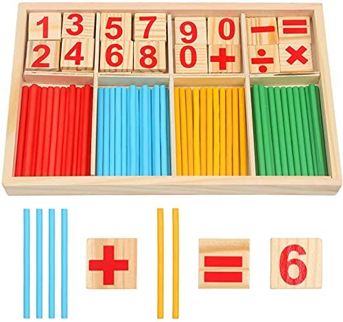 DERAYEE Montessori Mathe Spielzeug, Mathematik Spielzeug, Holz, Pädagogisches Mathe-Spielzeug für Kinder, Zahlenlernspiel