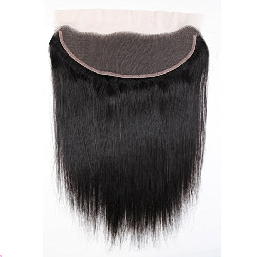 YanT HAIR Cheveux brésiliens vierges raides humains 33 x 10 cm avec dentelle frontale, 1 pièce de 50,8 cm, couleur noire naturelle, lot de 1