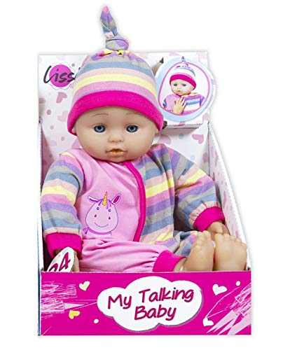 Lissi Puppe weiche Babypuppe mit 24 Sounds 38 cm (Rosa)