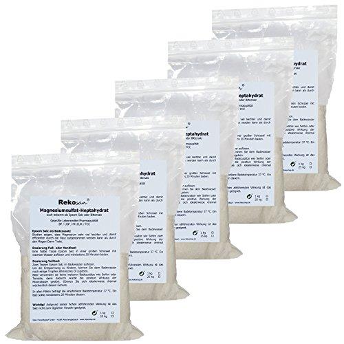 Rekosan ® Magnesiumsulfat,Bittersalz, Epsom Salz, Lebensmittel-/Pharmaqualität 5 x 1 kg