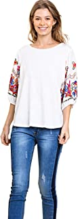 Umgee Women's Floral Embroidered Puff Sleeve Top