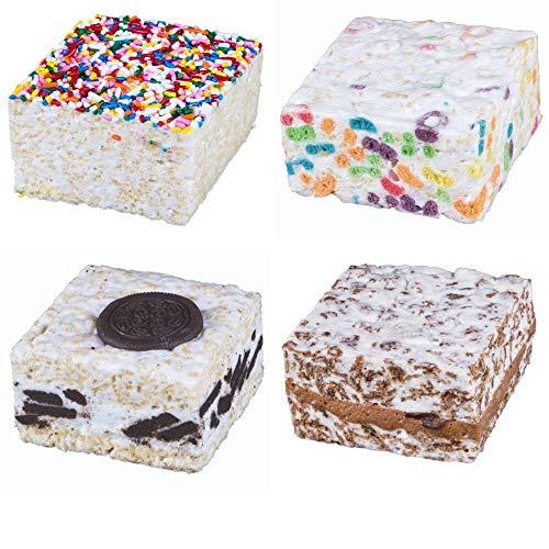 The Crispery CRISPYCAKES - Handmade Crisp Rice Marshmallow Treats. Variety Four Pack: Cocoa Concoction, Cookies & Cream, Fruity Ringlets, and Rainbow Sprinkles. Four 6oz Gourmet Snack Cakes