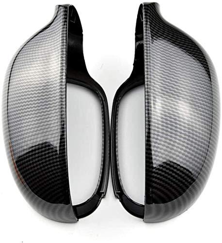 Nelbonls Kohlefaser-Seitenspiegelabdeckungen Rückspiegelabdeckungen Kappen Schalengehäuse für VW Golf 5 R32 GTI Standard 2006-2009-Carbon_Look_Black