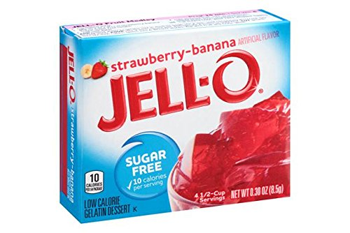 Jello Sugar Free Strawberry Banana Jelly 8.5 g (Pack of 3), Fat Free, Low Carb