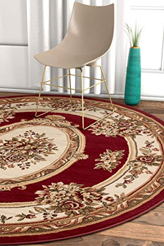 Well Woven Timeless Le Petit Palais Traditional Medallion Red Area Rug 7'10' Round