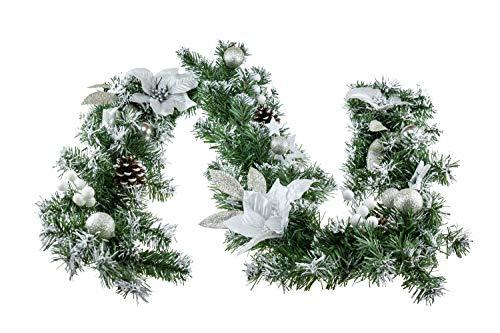 Clever Creations - Guirnalda de Navidad - Espumillón Verde con Flores de Pascua y pétalos de Flores Plateados y...