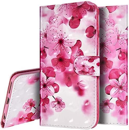 Kompatibel mit LG K40S Hülle,Handyhülle für LG K40S Lederhülle Glitzer Bling PU Tasche Flip Schutzhülle für LG K40S Klapphülle, Rosa Blumen