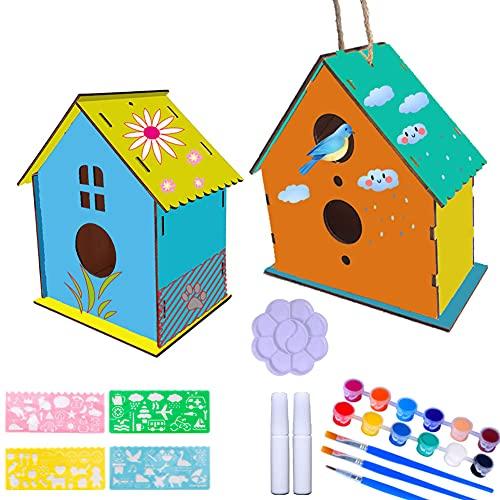 Abnaok DIY Holz Vogelhaus Bausatz, 2 Stück DIY Vogelhaus Kit Vogelhaus Bemalen Set, Bauen und Malen Vogelhaus Holzkunst für Kleinkinder