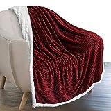 PAVILIA Sherpa Blanket Throw for Couch Sofa | Wine Maroon Red Super Soft, Plush Chevron Throw Fleece Blanket | Zig Zag Fuzzy Fluffy Decorative Blanket Microfiber, 50x60