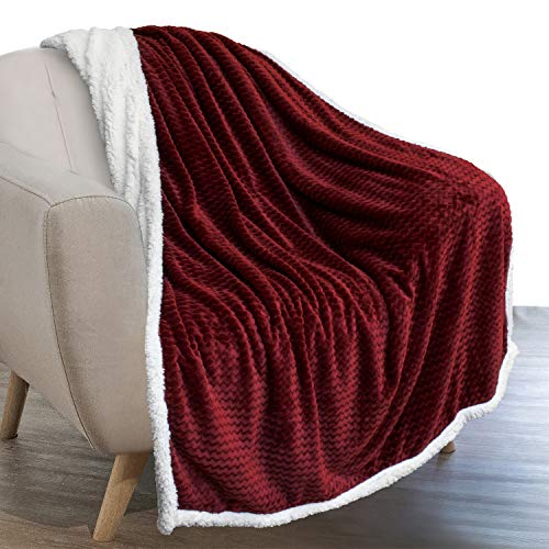 PAVILIA Sherpa Blanket Throw for Couch Sofa | Wine Maroon Red Super Soft, Plush Chevron Throw Fleece Blanket | Zig Zag Fuzzy Fluffy Decorative Blanket Microfiber, 50x60