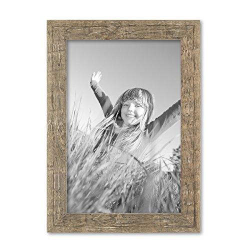 PHOTOLINI Bilderrahmen 21x30 cm/DIN A4 Strandhaus Rustikal Eiche-Optik Natur Massivholz mit Glasscheibe inkl. Zubehör/Fotorahmen