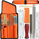 MIZOOVA 10 Piece Chainsaw Sharpener File Kit with 5/32 3/16 7/32 Round Files, 6 Inch Flat File, Depth Gauge, Filing Guide Holder, Hardwood Handle