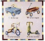 Car Wagon Tricycle Scooter | Woven Tapestry Wall Art Hanging | Playful Children's Vehicles Spelling Artwork | 100% Cotton USA Size 44x43
