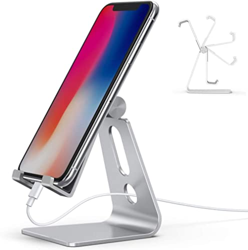 Emoly Suporte ajustável para celular, suporte para celular de mesa de alumínio 2020 com base antiderrapante e porta d...