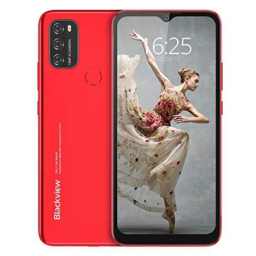 Android 11 Smartphone Libre, Blackview A70 Teléfono Móvil Octa-Core 3GB + 32GB Pantalla Waterdrop HD+ 6.517 '', Cámara Triple 13MP Movil Libre Barato Batería 5380mAh Dual SIM 4G Face ID/GPS- Rojo