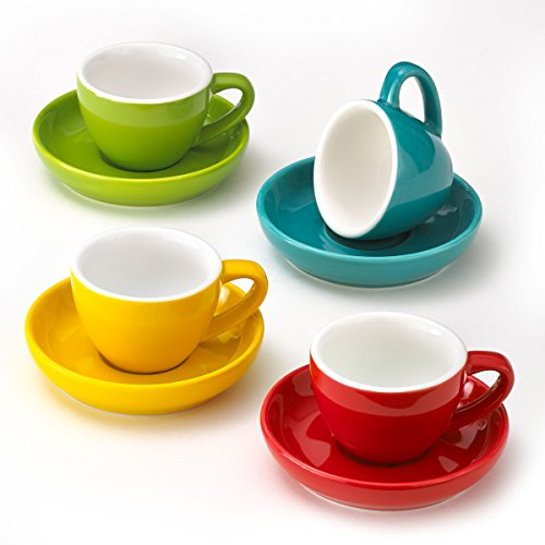 Espresso Cups and Saucers by Easy Living Goods - 3-Ounce Demitasse for Coffee Set of 4 Assorted Colors Vibrant