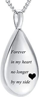 Yinplsmemory Carved Teardrop Keepsake Ashes Necklace Urn Pendant Cremation Memorial Jewelry