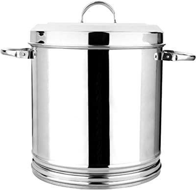 """""""Vinod Stainless Steel Heavy Gauge Ration Dabba with Lid & Side Handle - 14"""", Silver, Small (VINODRATIONDA14)"""