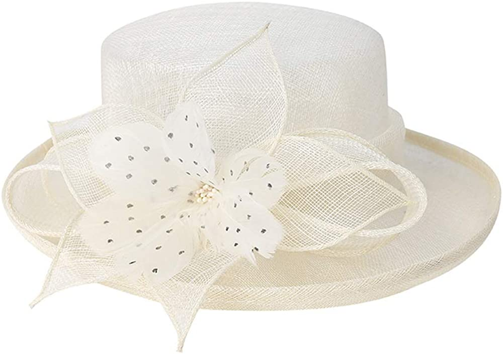 F FADVES Women Flower Fascinator Hat Church Tea Party Wedding Elegant British Fedora