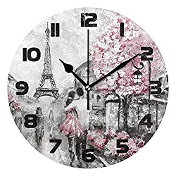 Wall Clock Silent Non Ticking, Paris Eiffel Tower Round Hanging Clock, 12 Inch Battery Operated Quartz Quiet Desk Clock for Home Living Room Kitchen Farmhouse Bathroom Bedroom Office School