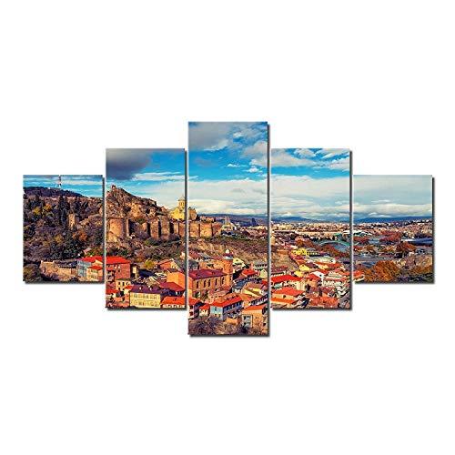 QIANJJ vlies leinwanddrucke 5 Wandbilder EIN Blick auf die alte Hauptstadt von Tiflis, Georgien wanddeko Wand Wohnzimmer Wohnzimmer Home Decor