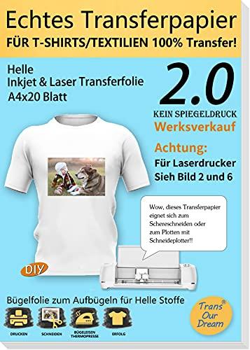 TransOurDream ECHTE Inkjet/Laser Transferfolie Transferpapier,DIN A4X20 Blatt,Bedruckbare Bügelfolie für helle T Shirts/Textilien,Folie für Tintenstrahldrucker und Laserdrucker(2.0-20)